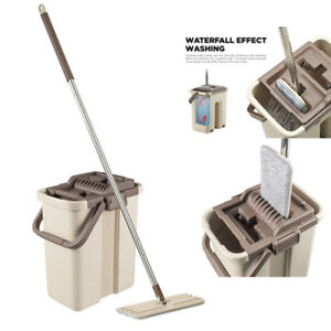 CleanWise@ Self-Wash and Squeeze Dry Flat Mop & Bucket Kit Household Home Clean