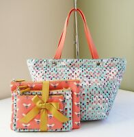 Fossil Blue Key Per Ew Tote + Triple Pouch Pink Bumble Bee