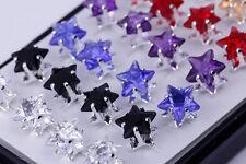 Bulk Wholesale Lots Mix 40pcs Silver Plated Women 8mm Star Crystal Stud Earrings