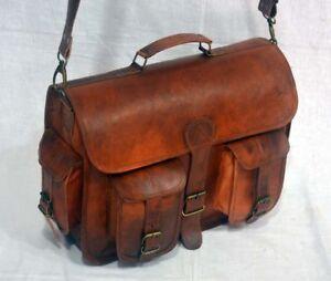 16-034-Leather-Vintage-Messenger-Shoulder-Men-Satchel-S-Laptop-School-Briefcase-Bag