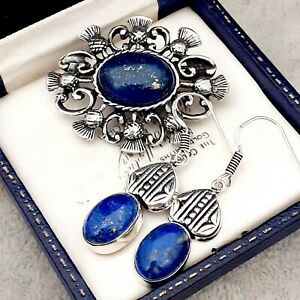 Vintage-Style-Blue-Lapis-Lazuli-Gemstone-Celtic-Scottish-Thistle-Pewter-Brooch