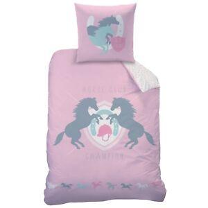 97ea4db5931873 Das Bild wird geladen Pferde-Kinder-Bettwaesche-in-rosa-mit-Wende-Motiv-