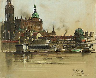 GEORG ERLER - Dresden - Italienisches Dörfchen - Kreide & Gouache 1907