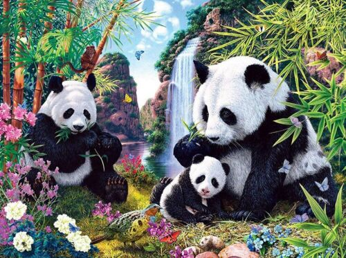 Full Drill DIY 5D Diamond Painting Family Panda Cross Stitch Embroidery Mural