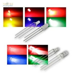 LED-3-5mm-3-pin-zweifarbig-diffus-wasserklar-zweifarbige-Leuchtdioden-AUSWAHL
