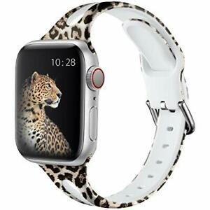 Slim Leopard Band for New Apple Watch 40/38mm Women Silicone iWatch 6/5/4/3/2/1