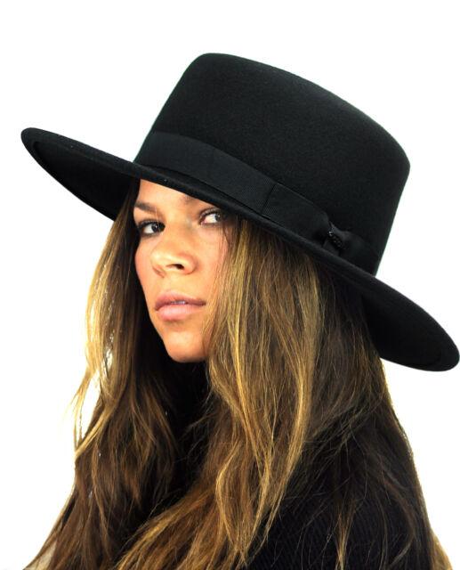 Nyfashion101 Wool Wide Brim Porkpie Fedora Hat W  Simple Band Accent ... f26a39ad870