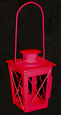 Little Red Metal T Light Candle Decorative Lantern 2 1 2 X4