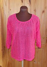 NEXT fuchsia hot pink sequin crochet knitted 3/4 sleeve batwing jumper top 8 36