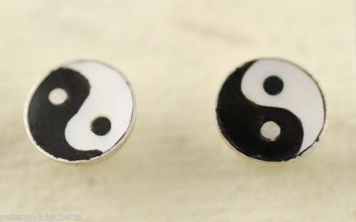 Boucles oreilles Zen Yin Yang  en argent massif 925