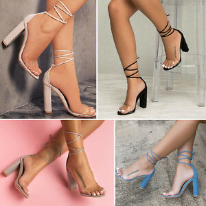 Women Ladies High Heels Clear Chunky Block Gladiator Sandals Open Toe Shoes Hot
