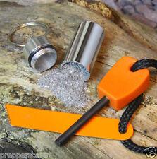 SMALL Ferrocerium Rod + MAGNESIO POLVERE IN CAPSULA-Fire Starter Kit di sopravvivenza