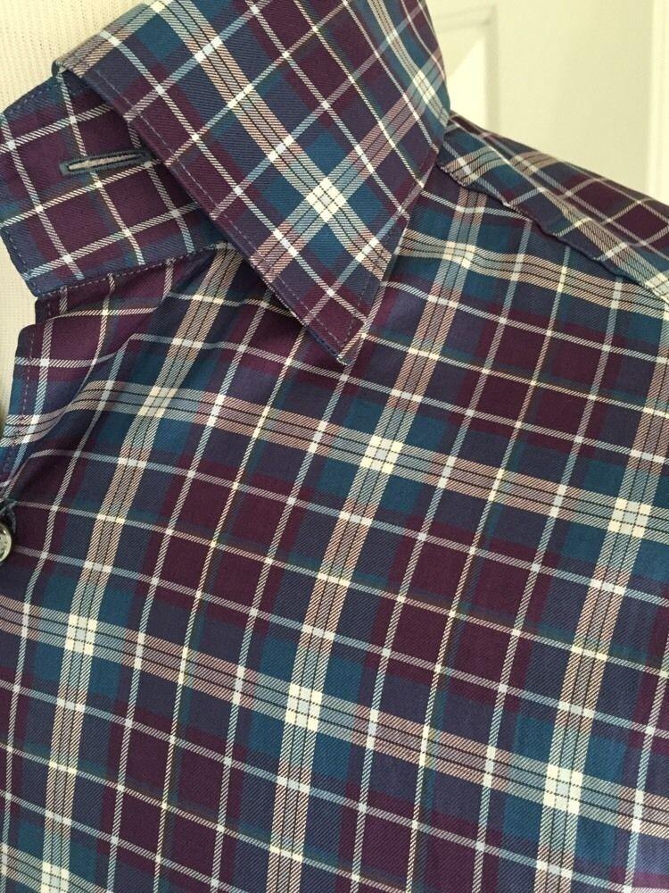 NWT 695 Ermenegildo  Zegna  Dress Shirt Multi-Farbe Small Made in