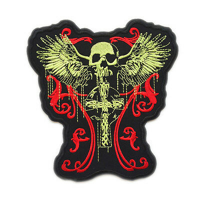 LARGE CELTIC CROSS SKULL ANGEL WING DEATH MOTORCYCLE VEST BACK IRON ON PATCH
