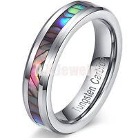 5mm Men Women Tungsten Carbide Abalone Inlay Bling Wedding Band Ring Gift Box