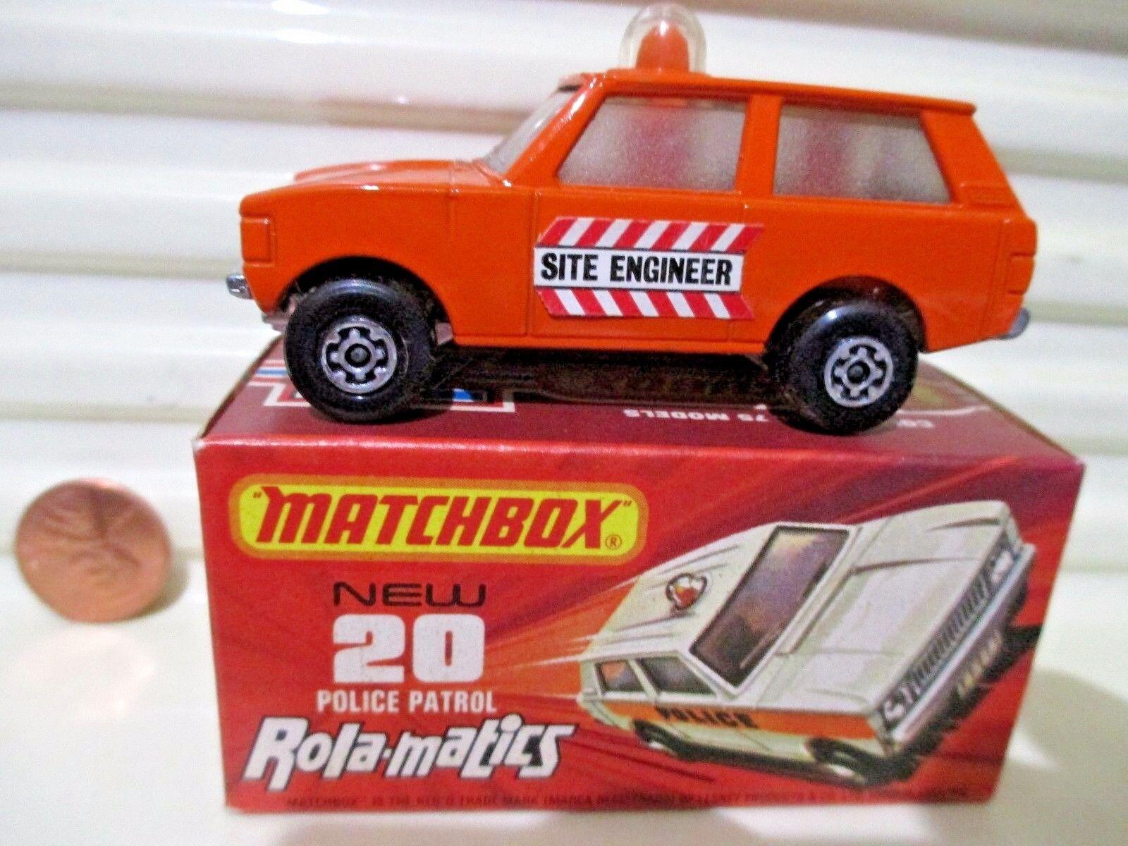 LESNEY MATCHBOX 1975 MB20B Orange patrouille de police avec site ingénieur étiquettes nuboxd