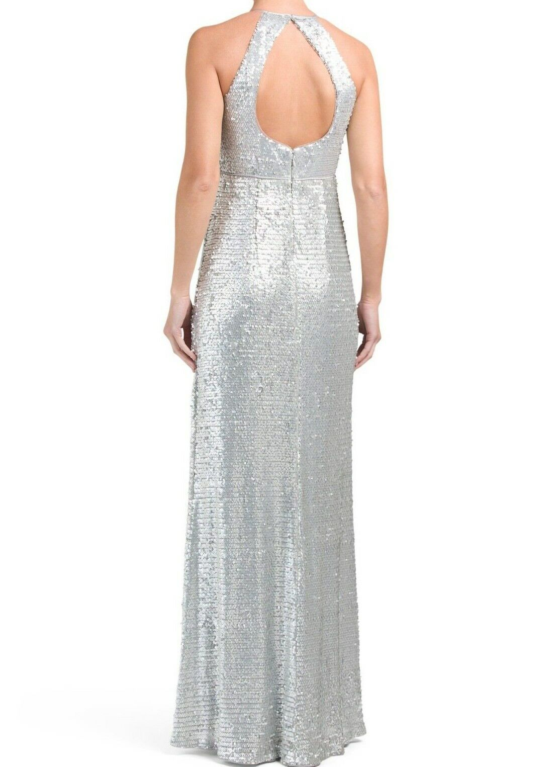 Adrianna Papell Halter Neck Piping Detail Keyhole Sequin Dress ...