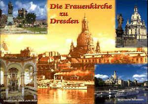Kirchen-Motiv-Ansichtskarte-Kirche-DRESDEN-Frauenkirche-farbige-Mehrbildkarte