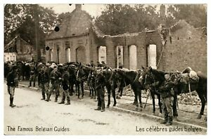 Antique-WW1-printed-military-postcard-The-Famous-Belgian-Guides-ruins-horses