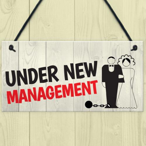 Under New Management Novelty Wedding Night Decoration Hanging Plaque Sign Gift
