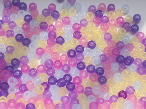 200 Mixte Couleur UV Magic Change réactif Acrylique Barrel poney Perles 8X6mm