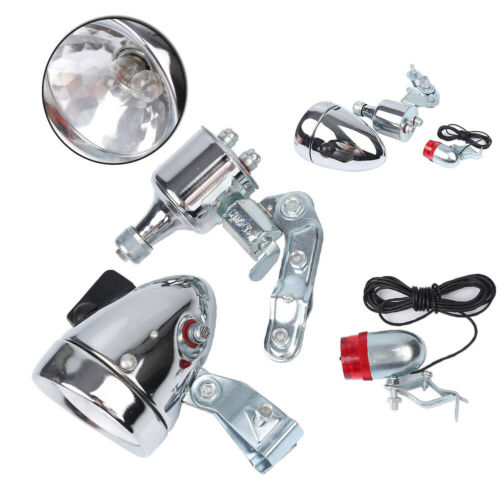 Bicycle Motorized Bike Friction Generator Dynamo Headlight Tail Light Kit Chorme