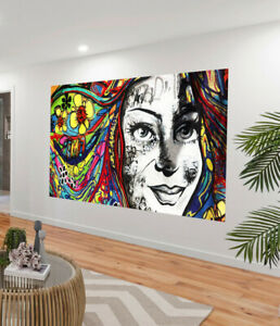 girl hair graffiti urban street art Print painting  a1 size Canvas Australia