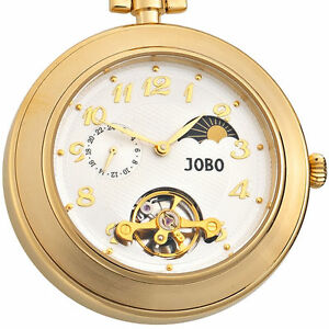 JOBO-Taschenuhr-mit-Kette-Mechanik-Uhrwerk-Sprungdeckel-vergoldet