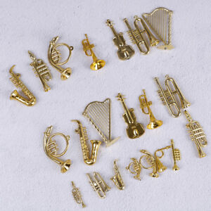 Mini-Plastic-Musical-Instrument-Gold-Christmas-Tree-Hanging-Xmas-Decor-FO