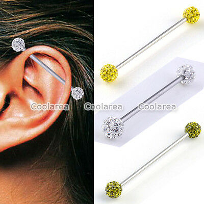 Steel 14G Czech Crystal Long Industrial Barbell Ear Bar Cartilage Ring Piercing