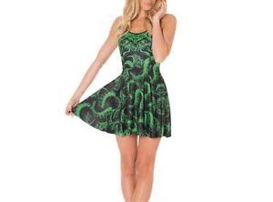 Cthulhu-Arkham-H-P-Lovecraft-Tentacle-Monster-Occult-Green-Black-Skater-Dress