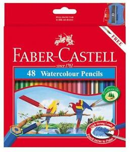 Faber-Castell-WaterColor-Pencils-with-Sharpener-and-Brush-48-WaterColored