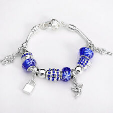XMAS wholesale solid Silver European Murano Glass Bead Charm Bracelet +Box XB092