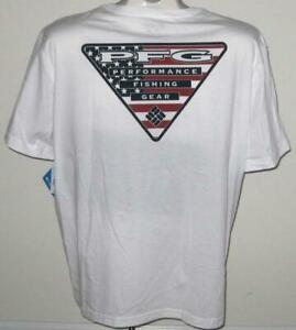 16bdb454f5e NEW COLUMBIA MENS T SHIRT Tee White PFG American Flag Fishing XLT 2X ...