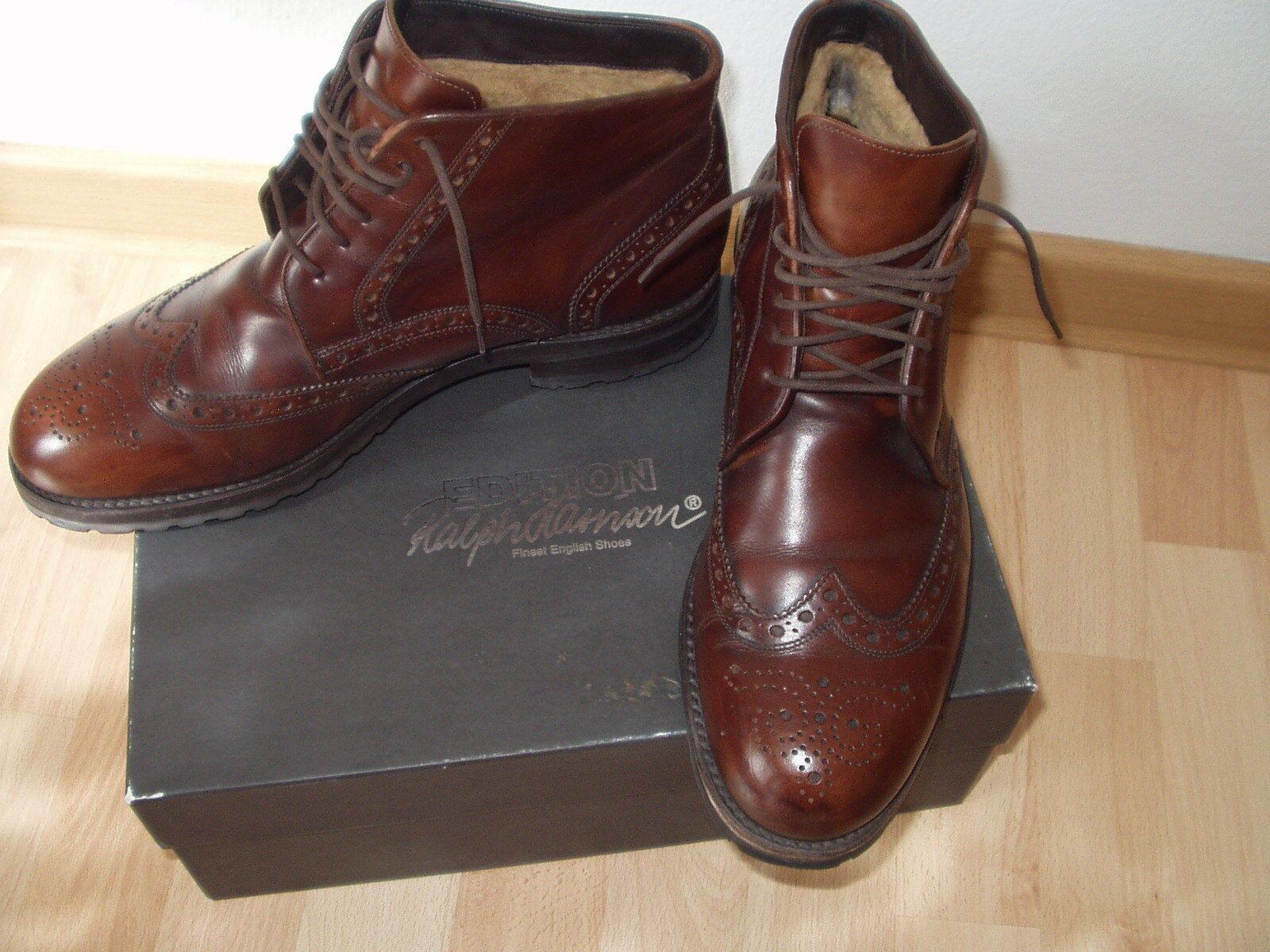 Hochwertig+Elegant! Winterstiefel m.Lochmuster,Made in GB,Gr.10,braun,top Zust.
