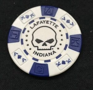 Lafayette White /& Black Indiana Hunters Moon Harley Davidson Poker Chip