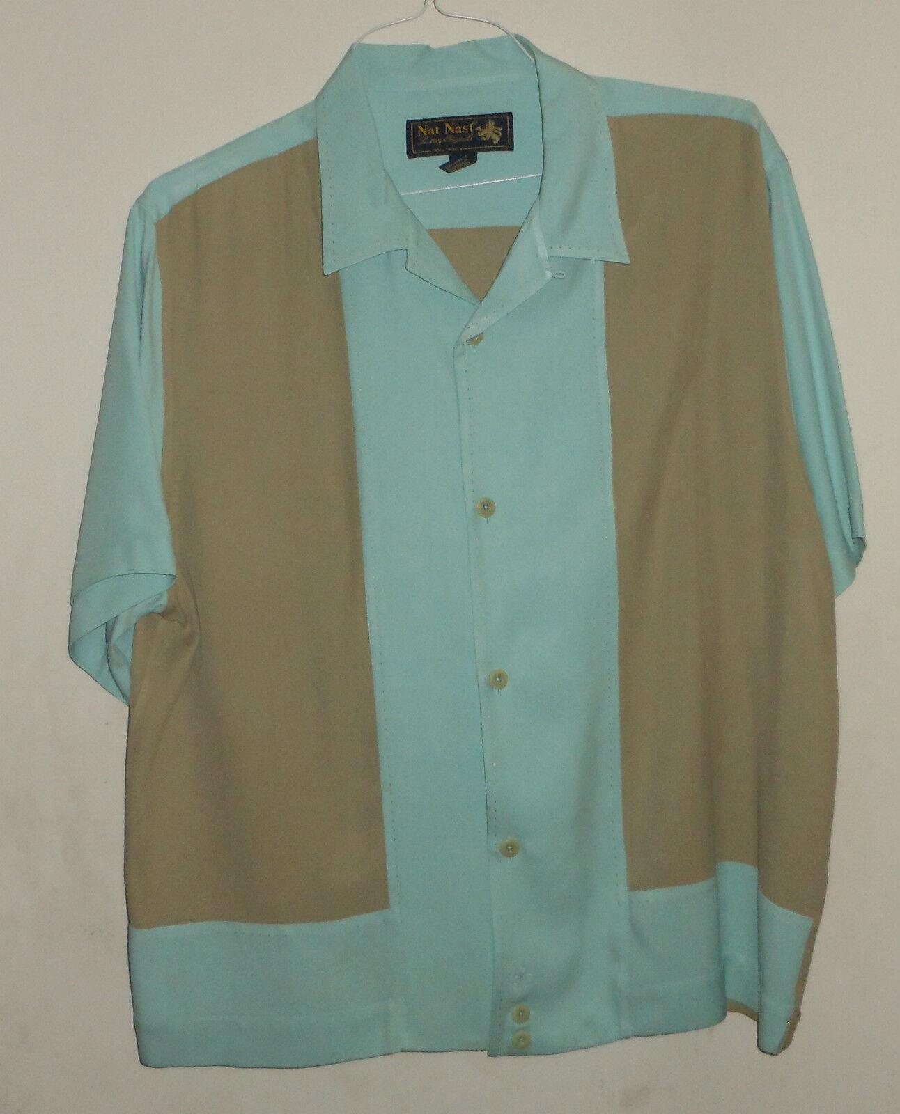 Nat nast-aqua Caqui Camisa jac-camp bucle Cuello Pic  Costura Hipster 100% silk-l  orden en línea
