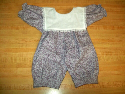 """GIRLS 1 PC ROMPER-PURPLE FLOWERS ON GRAY W//COLLAR for 16/"""" CPK Cabbage Patch Kids"""