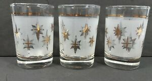 Set-of-3-Vintage-Frosted-Small-Glass-Tumblers-with-Gold-Stars-Starburst-Pattern