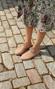fbe00a109f894 NEW Tory Burch MINNIE Crystal EMBELLISHED TWO WAY FLATS Blush Rose ...