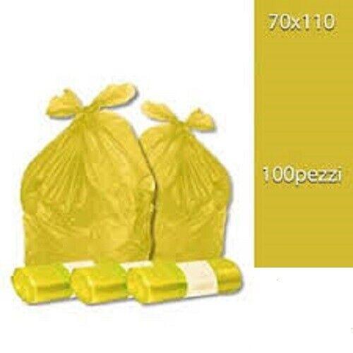 Spazzatura 100 Sacchi Differenziata Buste Immondizia 70x110 cm GIALLE