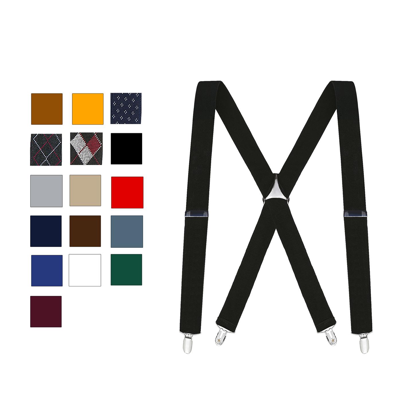 Buyless Fashion Adjustable Elastic Men's X Back Braces - 1 1/4