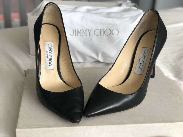 Jimmy Choo Romy Pointy Toe Pump Black Patent Leather Heel Shoe 39