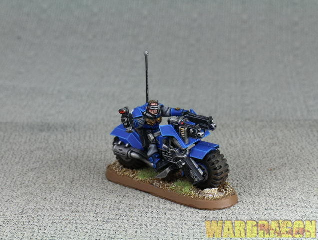 25mm Warhammer 40K WDS painted Space Marine Scout Bike u19