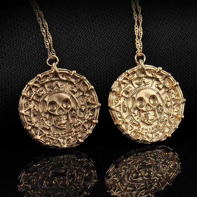 Vintage Pirate Of The Caribbean Gold Coin Medal Chain Necklace Pendant Jewelry