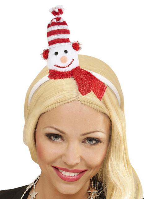Damen Schneemann Haarreifen mit Mütze und Schal Hut  Weihnachtsfeier Weihnachten