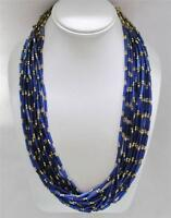 Chico's Iona Necklace Multiple Strands Electric Blue And Antiqued Gold Beads