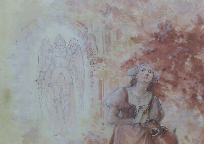 1843-1906 The Revelation De Jeanne D'arc Cogniet Troyes Pilsner Adrien Moreau