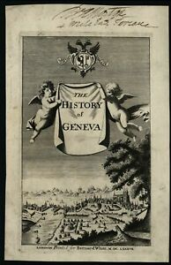 Geneva-Switzerland-1687-rare-birds-eye-view-engraved-title-page-cherubs