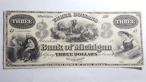 Bank-of-Michigan-1860-Marshall-MI-3-Dollar-Unissued-Obsolete-Note-UNC-56
